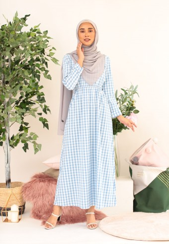 BUTTON CHECKERED LONG DRESS IN BLUE