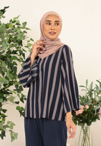 VERTICAL STRIPES TOP IN NAVY BLUE