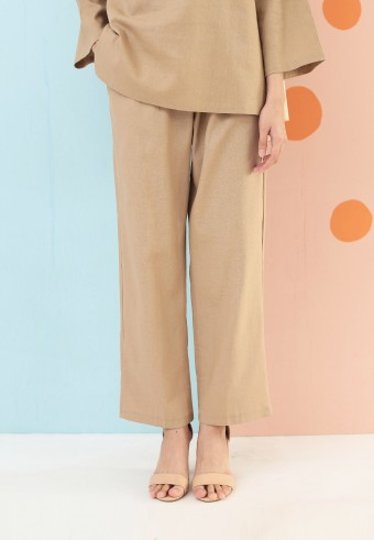 LINEN COTTON PANT IN NUDE