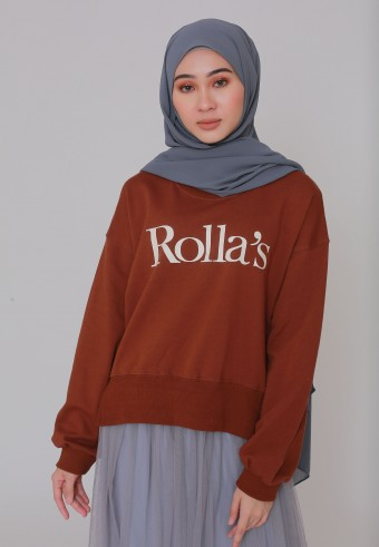 ROLLAS STATEMENT SWEATSHIRT IN BROWN