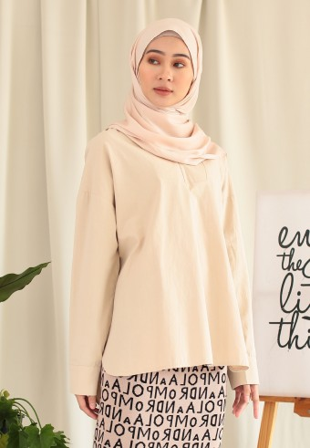 V-NECK COTTON TOP IN NUDE