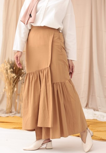 COTTON RUFFLE SKIRT IN BROWN