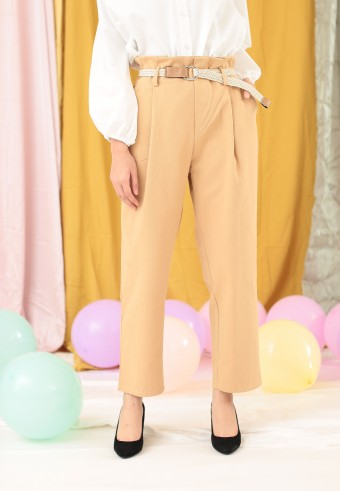 PLEAT FRONT PANT IN BROWN