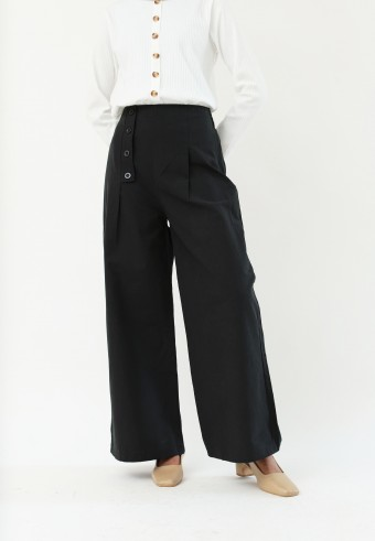 LOOSE HIGH WAIST PANTS IN BLACK