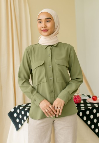 Dlla Pocket Blouse In Matcha