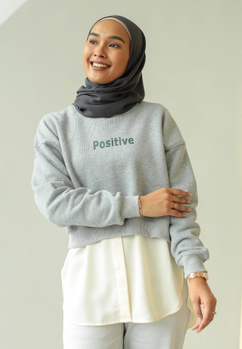 Positive crop sweatshirt in grey