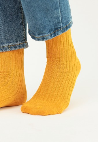 CREW PLAIN SOCKS IN YELLOW