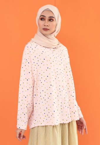 SMALL PATTERN TOP IN SOFT PINK