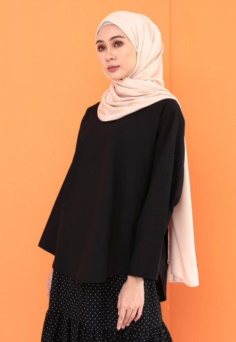 FLOWY COTTON TOP IN BLACK