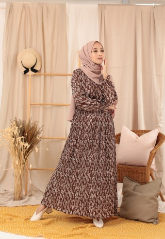 BUCKWHEAT LONG DRESS IN BROWN