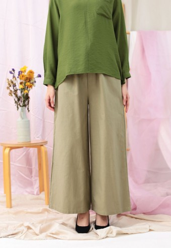 ROPED WIDE PANTS IN ARMY GREEN