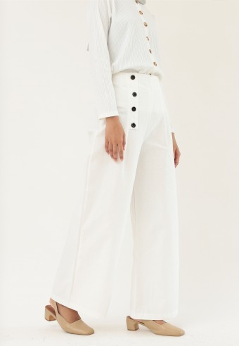 LOOSE HIGH WAIST PANTS IN WHITE