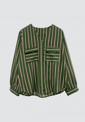 V-NECK DOUBLE POCKET STRIPED TOP IN GREEN