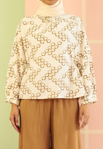 SIDE PLEATED MANDARIN TOP IN CREAM