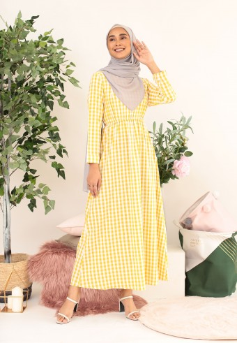 BUTTON CHECKERED LONG DRESS IN YELLOW
