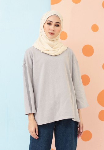 PLAIN COTTON TOP IN LIGHT GREY