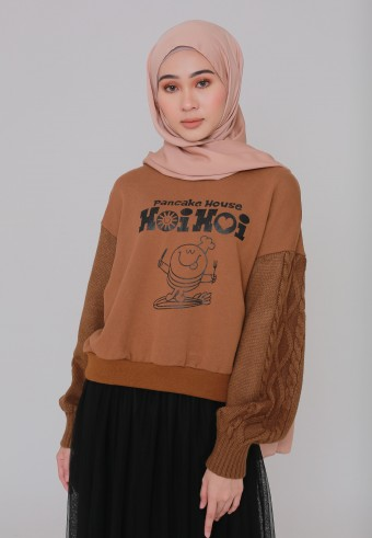 PANCAKE SWEATSHIRT IN BROWN