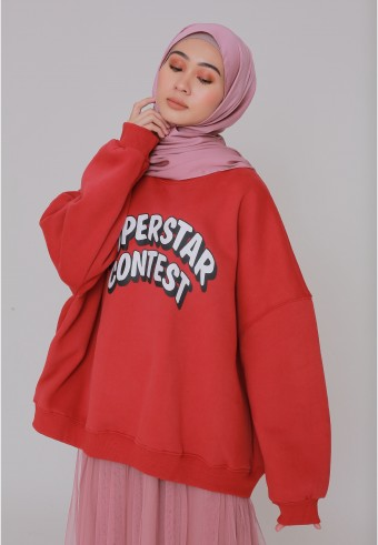 SUPERSTAR CONTEST SWEATSHIRT IN CHILI RED