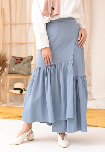 COTTON RUFFLE SKIRT IN BLUE