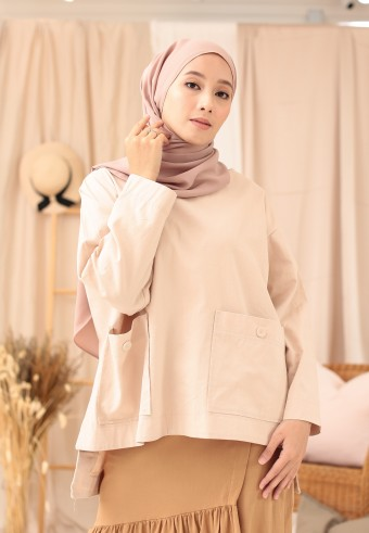 POCKET BUTTON TOP IN CREAM