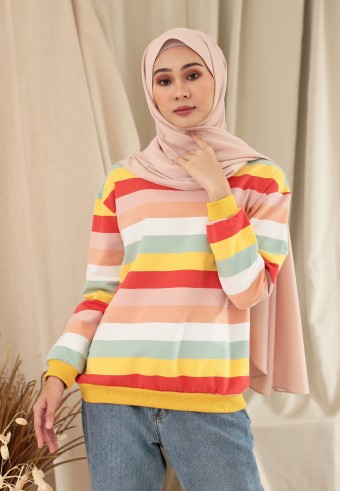 BIG STRIPE RAINBOW TOP IN PASTEL YELLOW