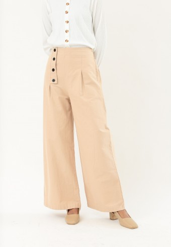 LOOSE HIGH WAIST PANTS IN NUDE