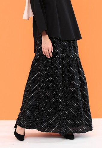 POLKADOT RUFFLE SKIRT IN BLACK