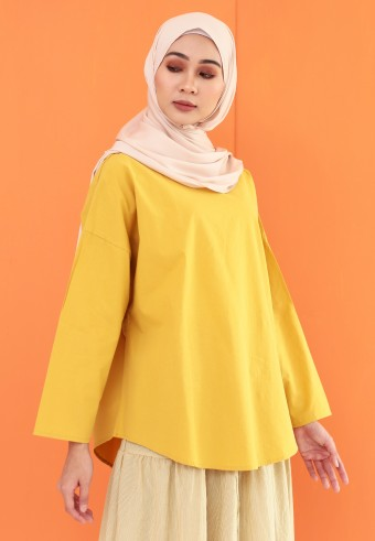 FLOWY COTTON TOP IN MUSTARD