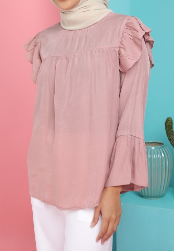 HIGH NECK RUFFLE SHOULDER TOP IN DUSTY PINK