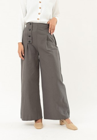 LOOSE HIGH WAIST PANTS IN OLIVE GREEN