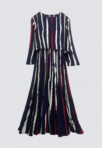 STRIPES PLEATED LONG DRESS IN NAVY BLUE