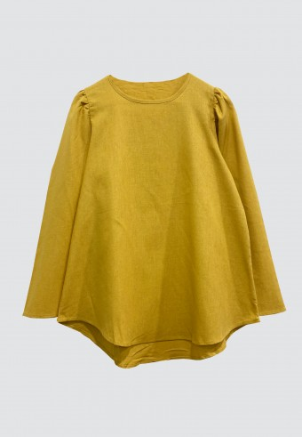 BELL SLEEVE LINEN TOP IN MUSTARD