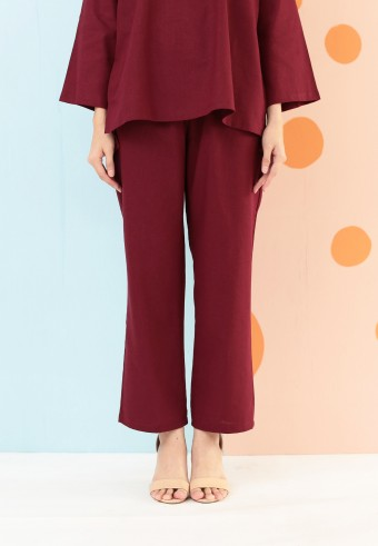 LINEN COTTON PANT IN MAROON