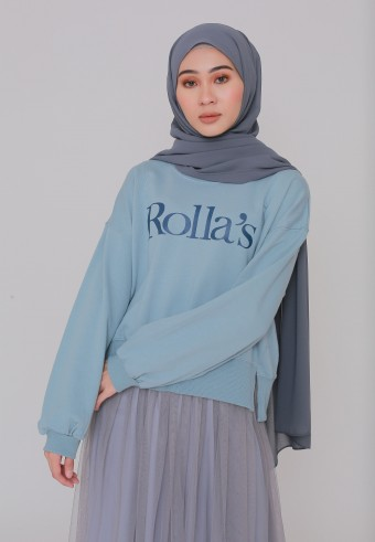 ROLLAS STATEMENT SWEATSHIRT IN DUSTY BLUE