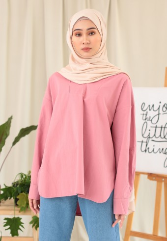 V-NECK COTTON TOP IN PINK