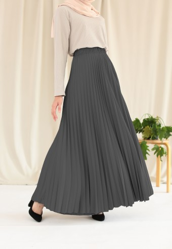 Suria Pleated Skirt In Grey