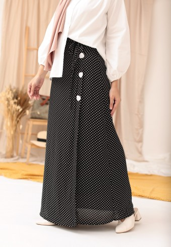 POLKADOT SLIT SKIRT IN BLACK