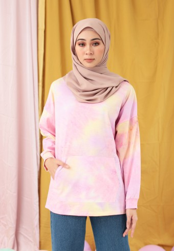 OMBRE POCKET SWEATSHIRT IN PASTEL PINK