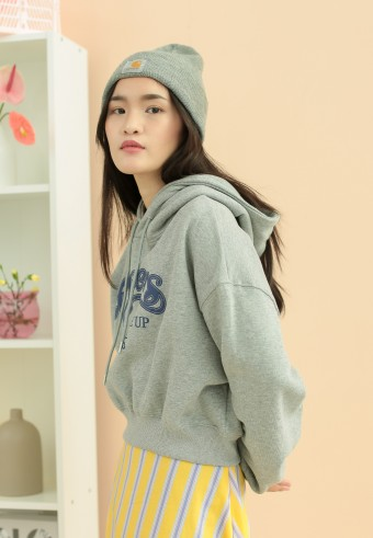 Cheers crop sweatshirt in grey