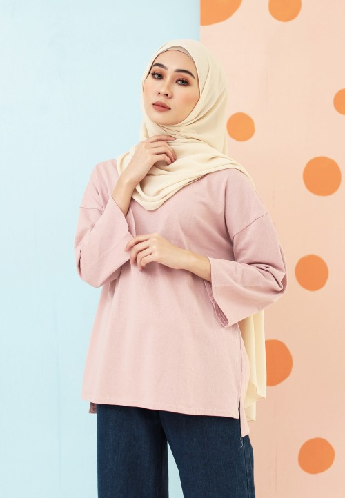 PLAIN COTTON TOP IN DUSTY PINK