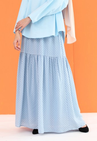 POLKADOT RUFFLE SKIRT IN SKY BLUE