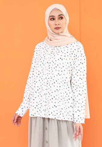 SMALL PATTERN TOP IN WHITE