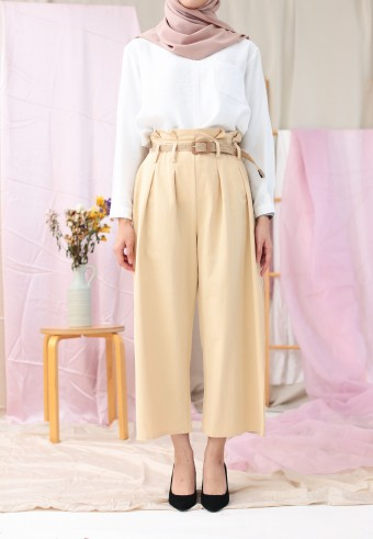 WIDE PANTS WITH BELT IN KHAKIS