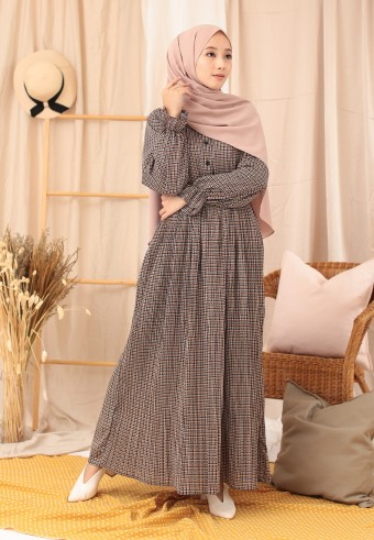 PLAID LONG DRESS IN BROWN