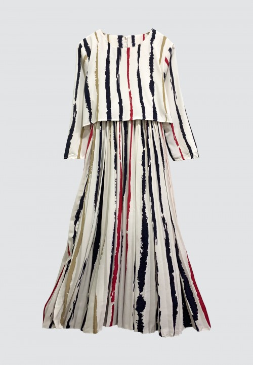STRIPES PLEATED LONG DRESS IN WHITE