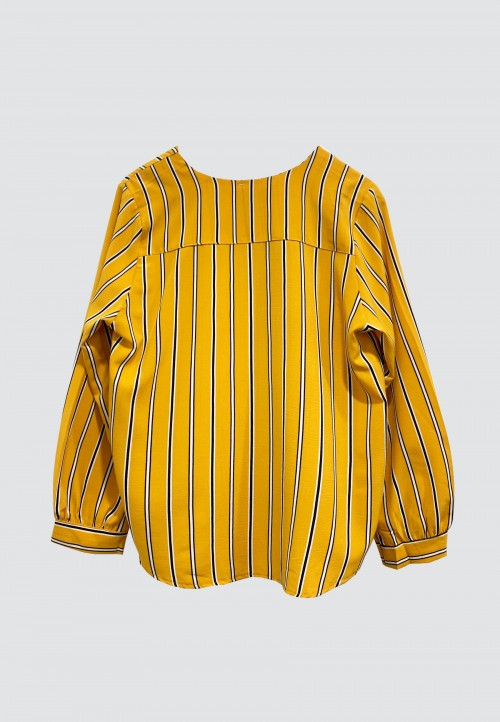 V-NECK DOUBLE POCKET STRIPED TOP IN MUSTARD