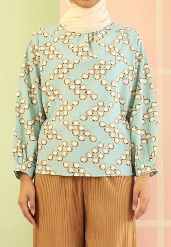 SIDE PLEATED MANDARIN TOP IN MINT GREEN