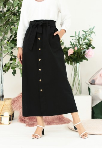 COTTON FRONT BUTTON SKIRT IN BLACK