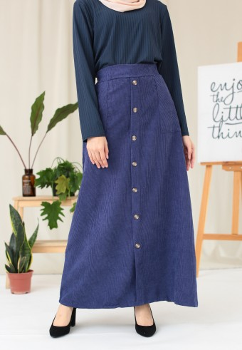 CORDUROY BUTTON SKIRT IN NAVY BLUE