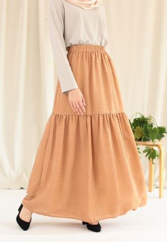 POLKADOT RUFFLE SKIRT IN BROWN